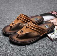 New Men's Sandals Slippers Flip Flops Beach Summer Leather Casual Flats Thongs