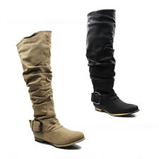WOMENS LADIES SLOUCH FASHION LOW FLAT HEEL KNEE HIGH BOOTS SHOES SIZE 3-8