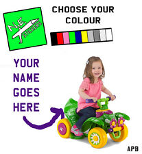 ANY NAME+COLOUR:BACK number plate Kid Trax Disney Fairies Quad ride on electric