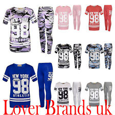 New Girls 98 NEW YORK Printed Tracksuit Top Jogging Bottom 2 pc Set Kids Outfit
