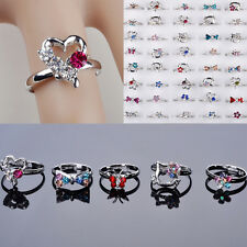 100/50Pcs Wholesale Lots CZ Crystal Children Kids Silver Plated Adjustable Rings