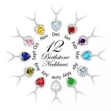 Sterling Silver Necklace Pendant Jewelry 925 Chain Swarovski Crystal 12 Colors
