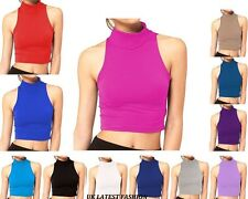 New Womens Crop Top Ladies Polo Turtle Neck Sleeveless Cropped Top 8 10 12 14