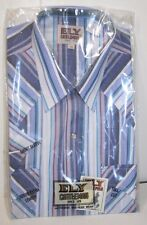 ELY CATTLEMAN Mens S/S Western Shirt, Blue/White Stripe, Various Sizes, NWT