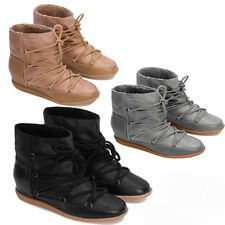 WOMENS LADIES CONCEALED WEDGE HEEL HIGH TOP SNEAKERS ANKLE BOOTS SHOES SIZE 3-8