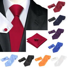 Solid Series Tie Necktie Mens tie Party Tie Hanky BUfflink Set Classic LOT B2