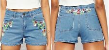 Brave Soul Womens Denim Embroidered Shorts Ladies Pants Hotpants Jeans