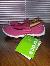 CROCS~Women's Duet Busy Day MARY JANE Stretch Shoes~Pink White~Size 4W (Wide)