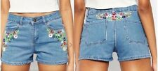 Womens Denim Embroidered Shorts Ladies Blue Pants Hotpants Jeans