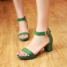 Womens Mid Heel Sandal Buckle Ankle Strap Buckle Casual Summer Shoes Newly#PLUS