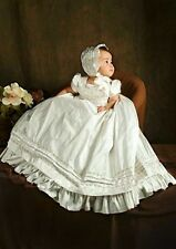 Special Vintage Baby Girls Baptism Dress White Christening Dress with Bonnet