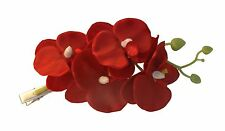 Gas Axe Inc Hair Red Orchid Flower Clip Rockabilly Pinup