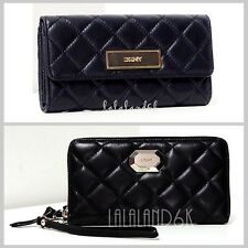 DKNY DONNA KARAN BLACK QUILTED NAPPA LEATHER FLAP CLUTCH WALLET / ZIP WRISTLET