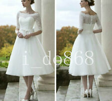 2017 Tea Length Lace Wedding Dress Bridal Gown Custom Size 6 8 10 12 14 16 18 +