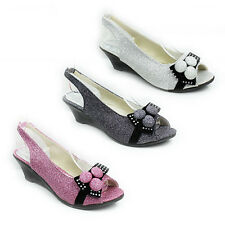 NEW WOMENS LADIES GLITTER WEDGE HEEL PEEP TOE SLINGBACK SANDALS SHOES SIZE 3-8