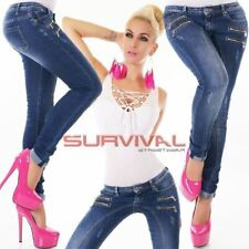 Womens NEW Skinny Jeans Blue Washed Sexy Low Rise Designer Zips Sz 6 8 10 12 14