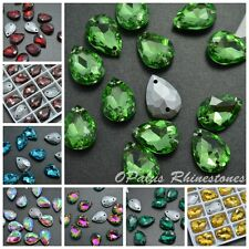 13*18mm Water Drop Point back Rhinestones Sew-on Crystal Glass Strass 50ps