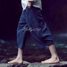 Mens Ninth Cropped Trousers Cotton Linen Loose Casual Summer Vintage Harem Pants
