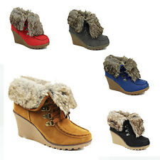 WOMENS LADIES WEDGE HEEL LACE UP WARM FUR LINED ANKLE BOOTS SHOES SIZE 3-8