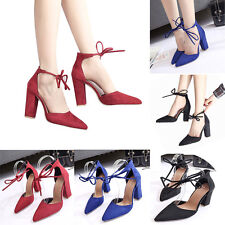 Ladies Women Pointed High Heel Ankle Strappy Classic Sexy Thick Block Heel Shoes