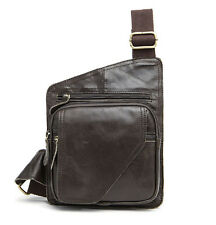 Genuine Leather Cowhide Men Sling Chest Bag Travel Riding Crossbody Pack New
