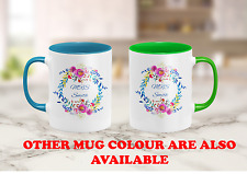 Personalised Floral Wreath MUG with your words name, teacher birthday mum gift