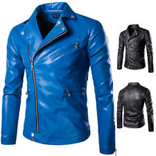 Mens Slim Fit BLACK/BLUE Casual Jacket outwear Zipper PU Leather Motorcycle Coat