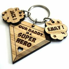 Personalised Fathers Day Gift Oak Keyring Daddy Dad Papa Grandpa Grandad Father