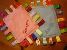 Handmade Baby/Toddler Fleece Personalised Taggie/Comforter -18 Mixed Ribbons