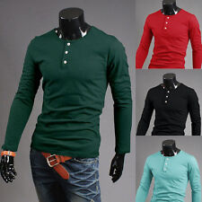 Mens Luxury Cotton Casual Slim Fit Stylish Long Sleeve Men Casual Tee Shirts New