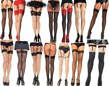 BURLESQUE RETRO PIN UP FASHION FISHNET, OPAQUE, LACE BACK SEAM HOLD UP STOCKINGS