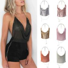 Women's Sexy V Neck Backless Metal Chain Sequined Halter Tank Top Clubwear Vest