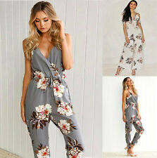 New Womens Floral Playsuit Slim V Neck Evening Party Ladies Romper Long Jumpsuit