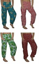 Ladies Pants Harem pants Flowers One Size Red Green Blue White harem pants