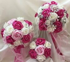 Wedding flowers Fuschia/Ivory with brooch option  Brides, bridesmaids