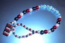 England Britain Red White Blue Personalised Dummy Chain Clip Crystal Bling Baby