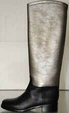 $1735 NEW CHANEL Black Leather Silver CC Riding Knee High Flat BOOTS SHOES 37 38