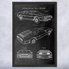 Framed DeLorean DMC-12 Patent Art Print Gift Back To The Future, Marty Mcfly