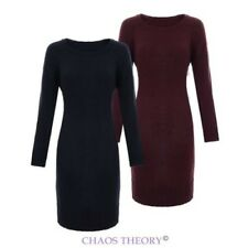 Womens Ladies Ribbed Round Neck Long Jumper Wide Hem Knitted Knit Pullover Dress