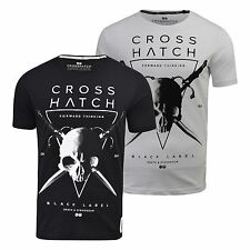 Mens T-Shirt Crosshatch Skull Print Crew Neck Short Sleeved Casual Summer Top