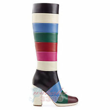 Fashion women knee high Boots Patchwork Multicolor Square Heel patent leather