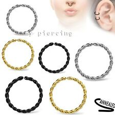 1pc Anodized Annealed Braide Seamless Hoop Ear Cartilage Labret Septum Nose Ring