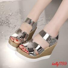 Womens summer sandals open toe punk show wedge heels shoes#silver shiny chic