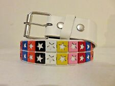 White Leather Studded Belt Two Row Metal Rainbow Stars Punk Rock S M L XL