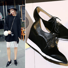 New Womens Shoes Fashion Leather Sneakers Lace Up Wedge Ankle Boots Sport Shoes