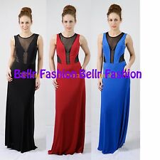 NEW WOMENS LADIES SEXY CUT OUT BLACK MESH INSERT PARTY PROM MAXI DRESS UK 8-14