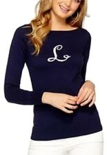 NEW Lilly Pulitzer Marielle Sweater True Navy L Letter Sweater Boat neck Blue S