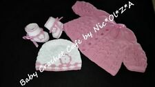 NEW HANDMADE CROCHET - KNITTED BABY GIRL TODDLER SET JACKET HAT BOOTIES