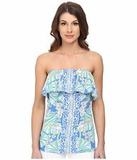NEW Lilly Pulitzer WILEY TUBE TOP Ruffle Bay Blue Coasting Engineered Top S