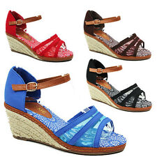 WOMENS LADIES PEEP TOE ANKLE STRAP WEDGE HEEL ESPADRILLES SANDALS SHOES SIZE 3-8